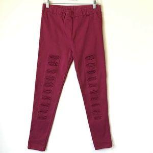 Umgee High Rise Distressed Legging Pants Pink #12